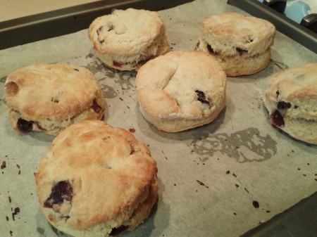 Freshly-baked cherry scones