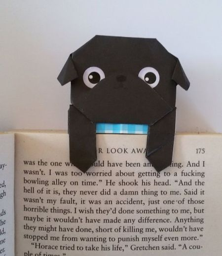 Pug dog shaped bookmark