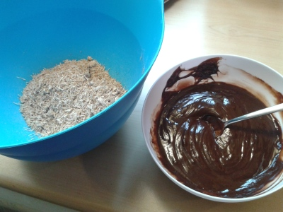 Shredded wheat and melted chocolate and golden syrup for chocolate shredded wheat cereal easter nests