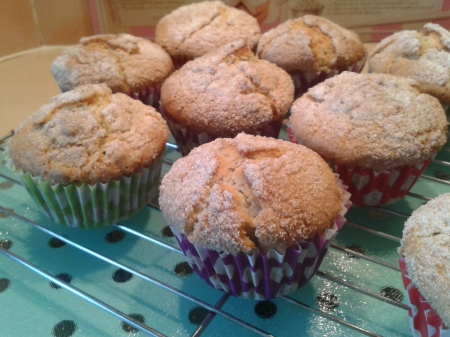 Hazelnut muffins with crunchy tops freshly baked