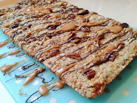 Oat and pecan squares with caramel and chocolate 2