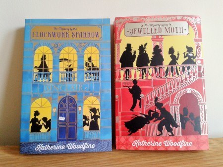 The Mystery of the Jewelled Moth and The Mystery of the Clockwork Sparrow by Katherine Woodfine and illustrated by Julia Sarda book covers photoThe Mystery of the Jewelled Moth and The Mystery of the Clockwork Sparrow by Katherine Woodfine and illustrated by Julia Sarda book covers photo