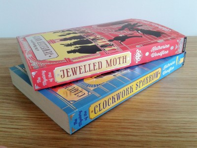 The Mystery of the Jewelled Moth by Katherine Woodfine and illustrated by Julia Sarda book spines photo