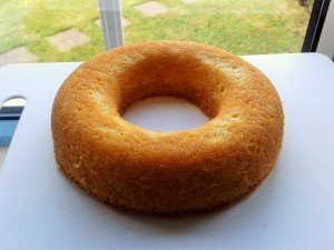 One layer of giant doughnut sponge cake