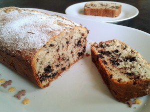stracciatella cake chocolate chip loaf sponge cake sliced