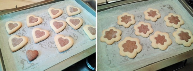 Two tone biscuits cookies heart shaped and flower shaped freshly baked