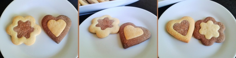 Two tone biscuits cookies heart shaped and flower shaped