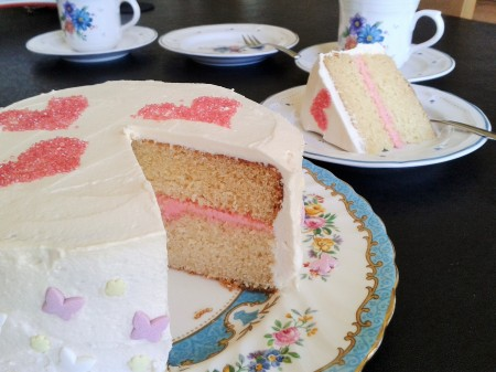 White chocolate layer cake with raspberry buttercream filling easy to slice ideal party cake 2