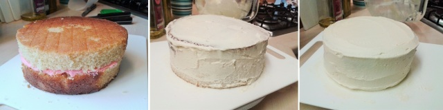 White chocolate layer cake with raspberry buttercream filling stage of preparation with crumb coat