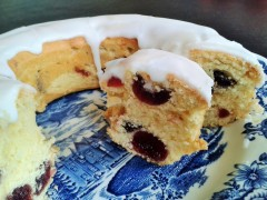 Cherry cake recipe sponge cake with glace cherries and white icing sliced