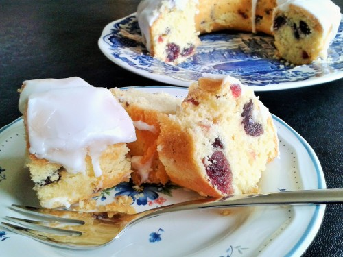 Cherry cake recipe sponge cake with glace red cherries and white icing