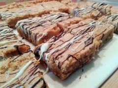 White chocolate blondies recipe sliced and decorated tray bake