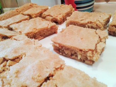 White chocolate blondies recipe sliced