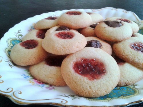 Jam and butter thumbprint cookies perfect to bake with children