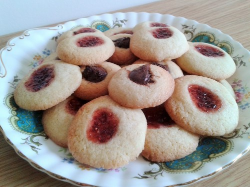 Jam and butter thumbprint cookies with jam centres