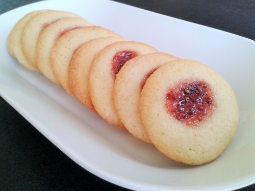 Jam and butter thumbprint biscuits