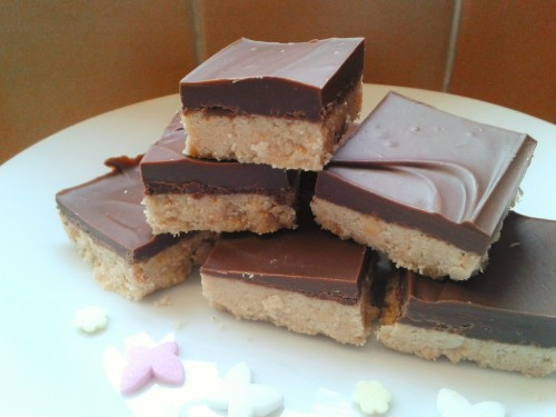 How to make chocolate peanut butter square recipe like Reese's pieces