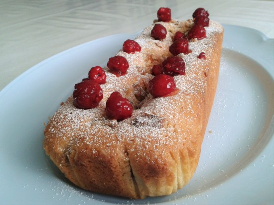 Raspberry and walnut loaf cake