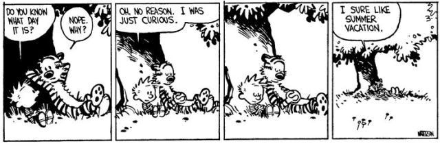 Calvin and hobbes summer vacation holidays