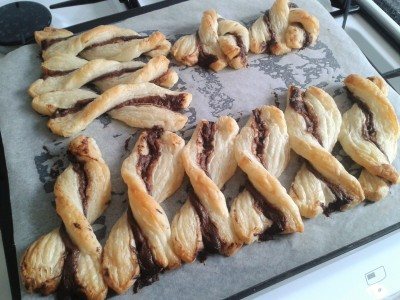 Chocolate hazelnut pastry twists easy bake with kids using frozen puff pastry