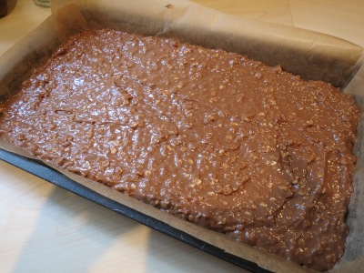 Easy chewy chocolate oat square flapjack cake recipe uk