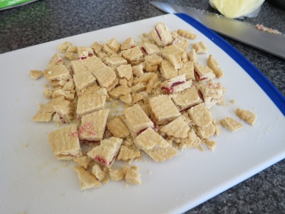 Jammy Dodgers jammy shortbread biscuit bites tray bake recipe chopped
