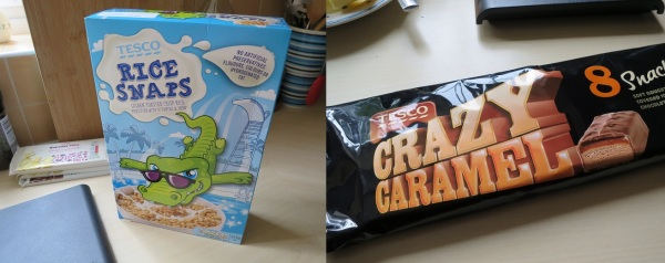Tesco's own brand rice krispies, puffed rice cereal and mars bars crazy caramels