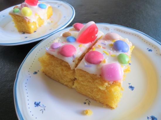 Orange sweetie cake with dolly mixtures traybake uk