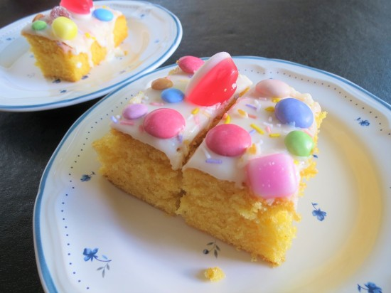Orange sweetie cake with dolly mixtures traybake uk