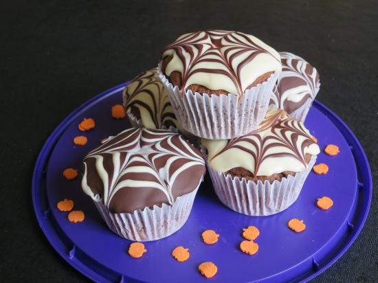 Easy chocolate fudge muffins recipe uk with Halloween chocolate cobweb spider web frosting