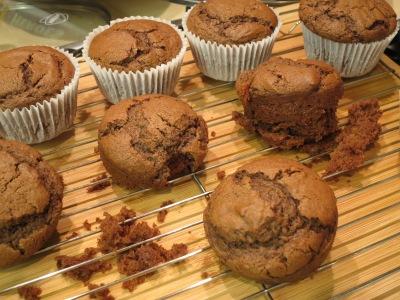 Easy Chocolate fudge muffins uk recipe with Halloween cobweb icing