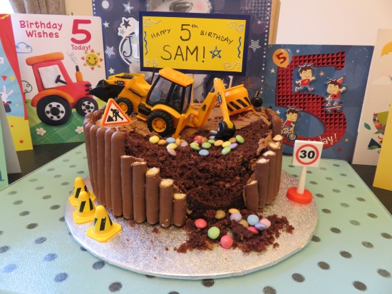 Kid's digger building site builder chocolate easy birthday cake
