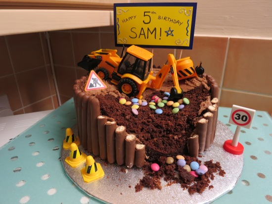Kid's digger building site chocolate easy birthday cake with chocolate finger borde easy cake for a boyr