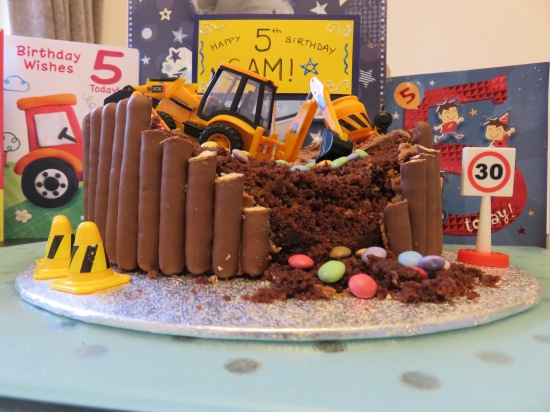 Kid's digger building site chocolate easy birthday cake