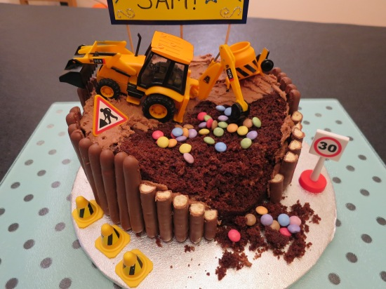Kid's digger building site chocolate easy birthday layer cake