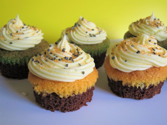 Easy Halloween brownie cupcakes with orange and green sponge quick Halloween baking recipe for kids UK with buttercream and sprinkles