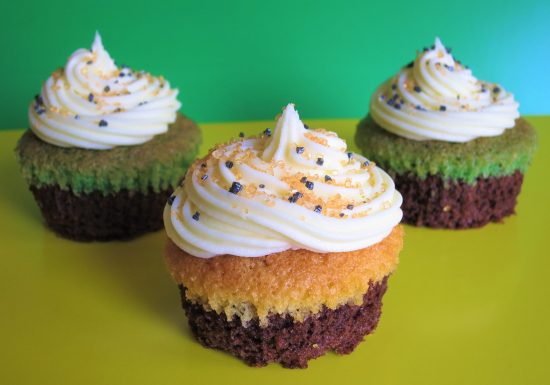 Halloween brownie cupcakes with orange and green sponge easy Halloween baking recipe for kids UK with buttercream and sprinkles