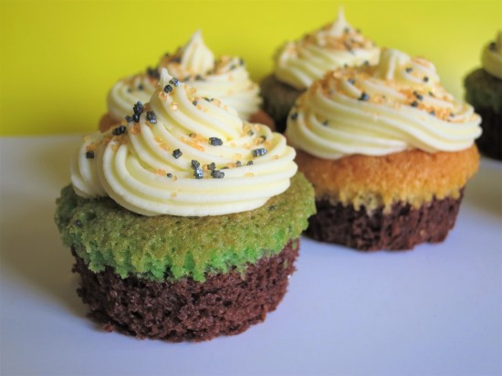 Halloween brownie cupcakes with orange and green sponge quick easy Halloween baking recipe for kids UK with buttercream and sprinkles