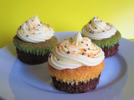 Halloween brownie cupcakes with orange and green sponge simple Halloween baking recipe for kids UK with buttercream and sprinkles