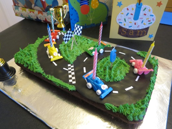 Easy race car race track circuit birthday cake uk