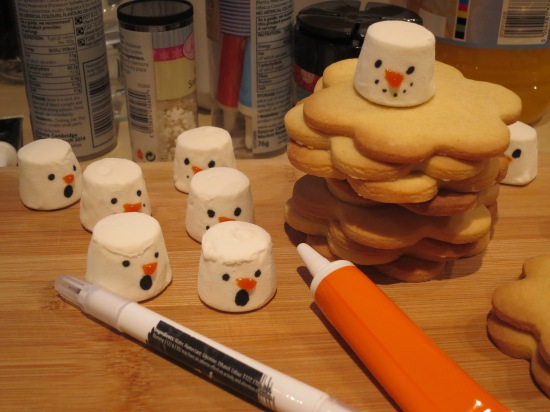 Melted snowman biscuits recipe festive Christmas cookies uk baking with kids