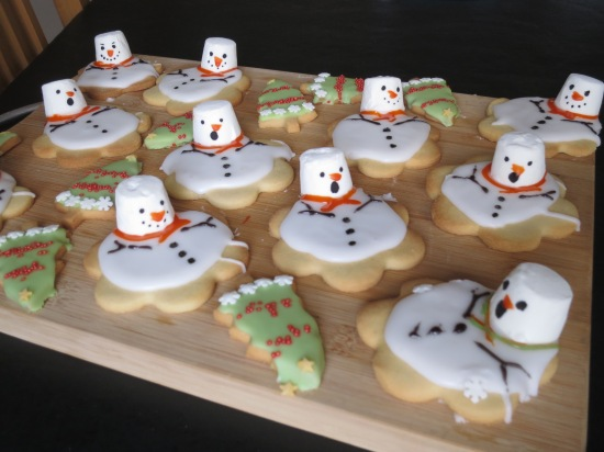 Melted snowman cookies easy festive Christmas biscuits uk baking with kids