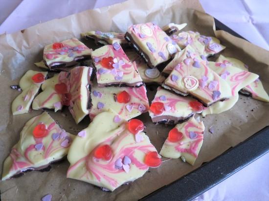 Valentine's oreo white milk chocolate bark pink swirl and sweets uk recipe