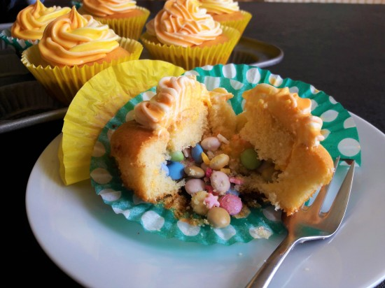 How to make Piñata pinata cupcakes recipe made using condensed milk and hidden sweeties and multicoloured icing