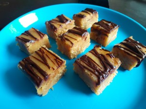 Picture of slices of peanut butter and caramel fudge