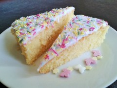 Picture of old school sponge cake with white icing and multicoloured spinkles