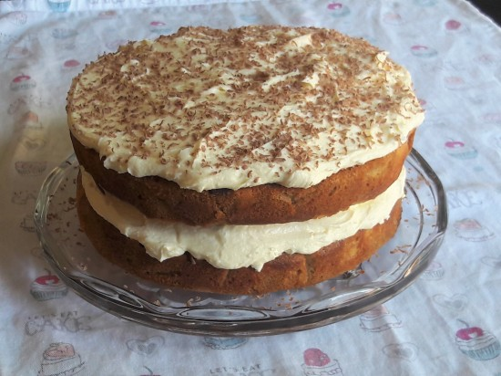 Cappuccino swirl layer cake with caramel buttercream recipe uk and chocolate flakes