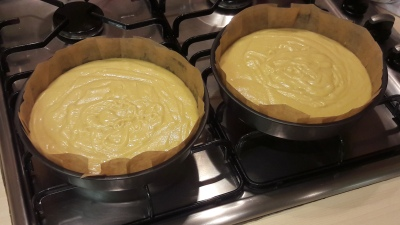 Easy white chocolate fudge cake with salted caramel buttercream recipe uk batter ready for oven