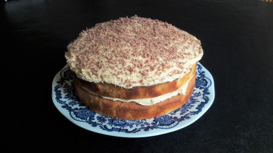 Easy white chocolate fudge cake with salted caramel buttercream recipe uk with chocolate shavings