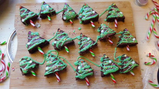 Quick Christmas tree brownies cut and decorated uk